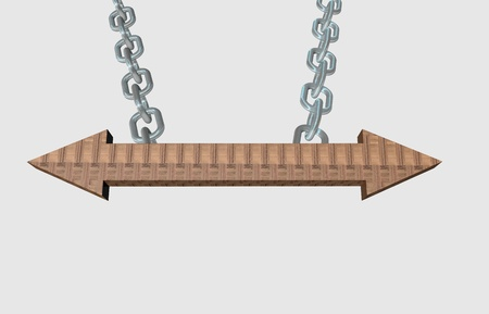Two ways wooden arrow pointer hanging on a steel chain photo