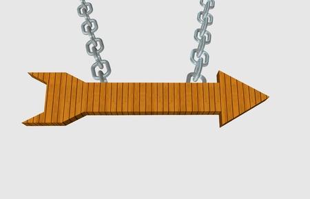 rejas de hierro: Puntero de flecha de madera colgando de una cadena de acero