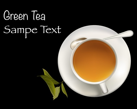 teacups: Healthy green tea cup with tea leaves