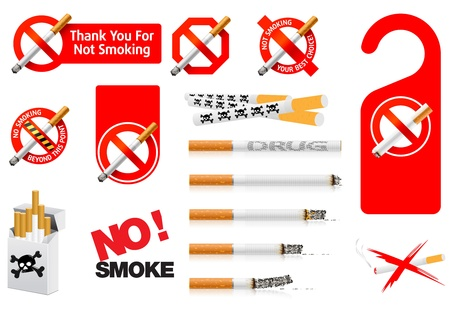 tobacco product: No Smoking signs. Vector - images can be re-size to any limit