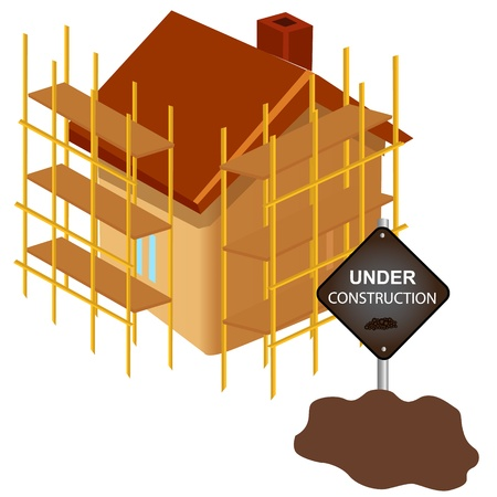 House under construction with sign board Vector