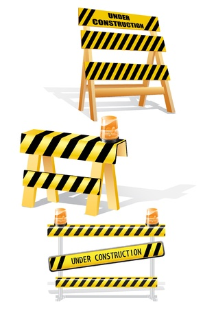 Under construction sign barriers- image can be re-size to any limit Vector