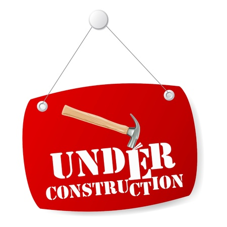 under construction sign: Under construction sign board with hammer