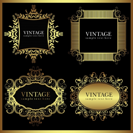 resize: Vintage frame set- images can be re-size to any limit Illustration