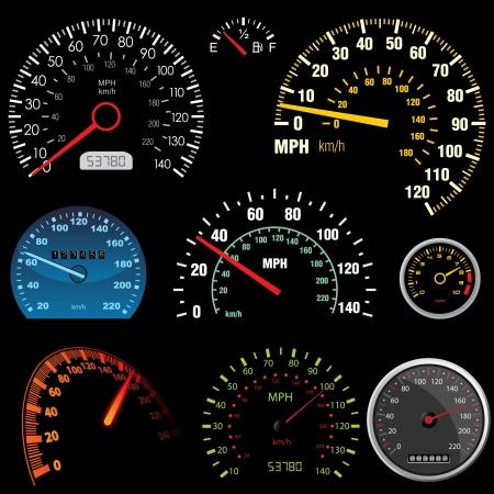 speedometer: Set di tachimetri di auto da corsa design - immagine pu� essere ri-size ad alcun limite Vettoriali