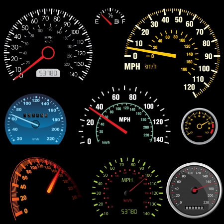 mph: Set of car speedometers for racing design - image can be re-size to any limit