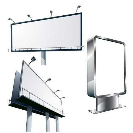 Outdoor advertising billboards isolated on white
