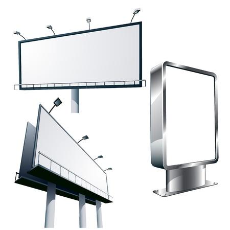 Panneaux publicitaires en plein air isolé sur blanc