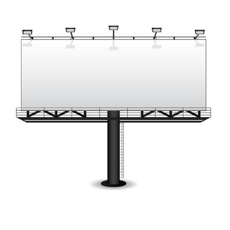 uithangbord: Buitenreclame billboard op wit wordt geïsoleerd