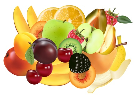 Variety of Exotic fruits - image can be re-size to any limit Vector