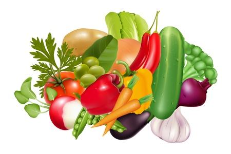 vegetables white background: Vegetables set