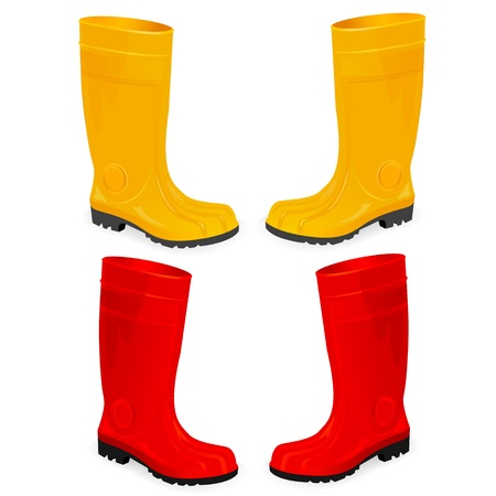 rubber boots: yellow and red rubber boots isolated on white Illustration