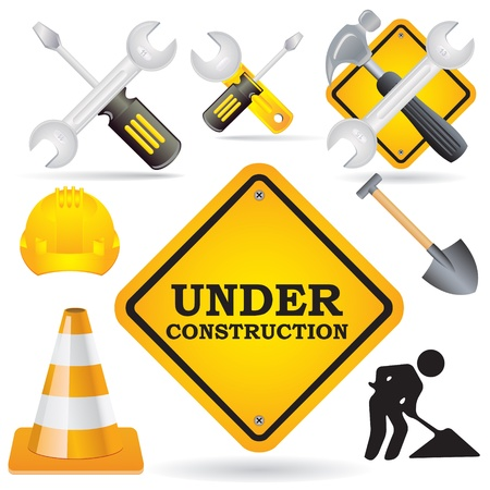 Under construction icons - images can be re-size to any limit Stock Vector - 13907081