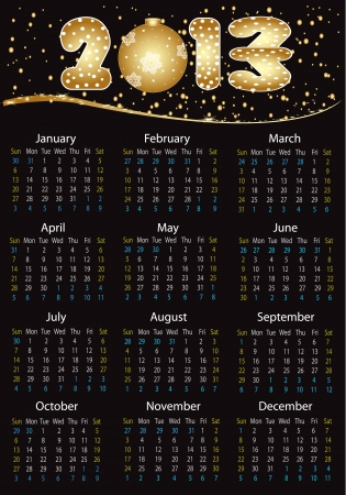 Vertical calendar 2013 year - can be re-size to any limit Vector