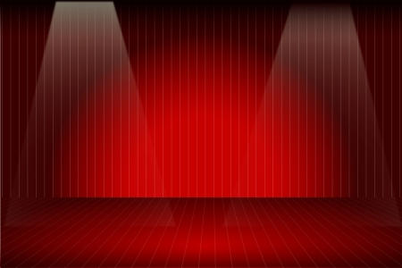 Vector illustration of the empty red stage