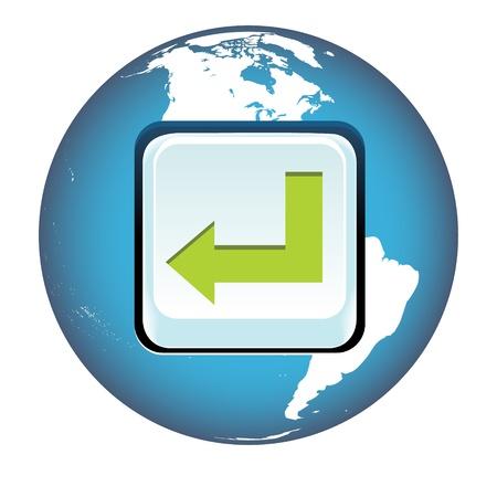 Vector enter key on blue globe