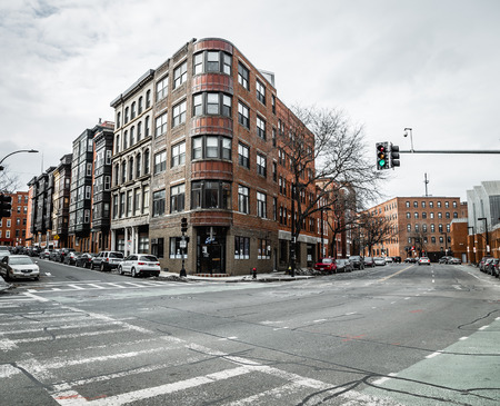 north end: Boston, MA, USA - March 2, 2014: Commercial Street in The North End district in Winter Editorial
