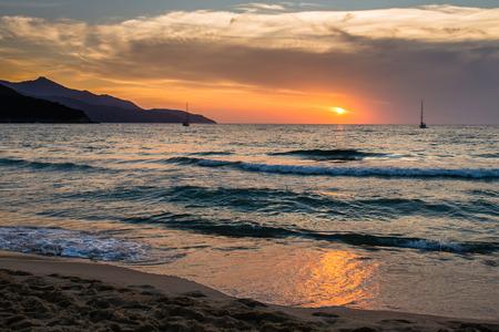 Sunset at Biodola Beach on Elba Island