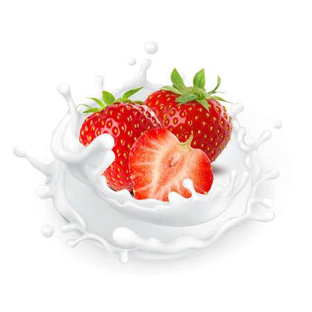 Milk splash isolated on white background strawberry yogurt food cream milkshake Banque d'images