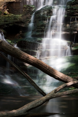 Silky smooth water cascades down a waterfall on giant flagstone steps eventually settling into a small pool  Fallen sun splashed trees stand guard protecting the falls