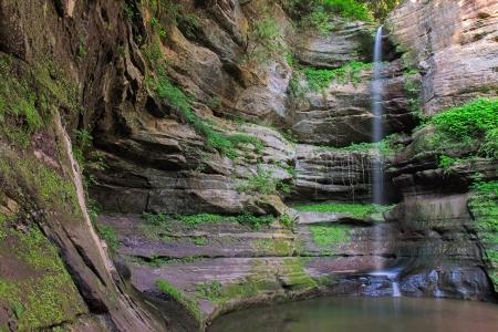 weather beaten: Dopo un tuffo precipitosa, la cascata di Wildcat Canyon riempie delicatamente una pozza d'acqua alla base della Nebbia canyon dal cadute stimola la crescita di morbido muschio verde e penzoloni edera delle condizioni climatiche battuto pareti del canyon