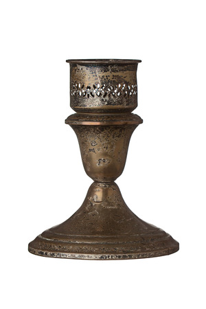 neoclassic: Tarnished antique candlestick holder isolated on a white background.