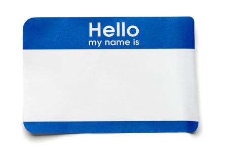 Blue Hello Name Tag on White Foto de archivo