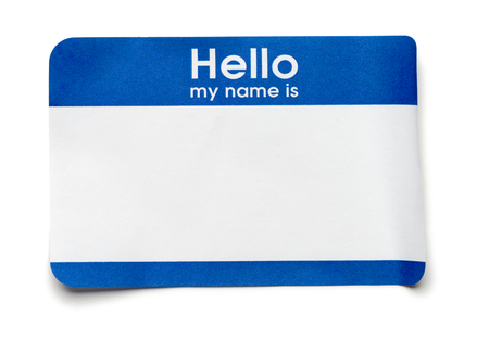 Blue Hello Name Tag on White Banque d'images