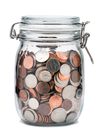 Mason Jar with Coins on White