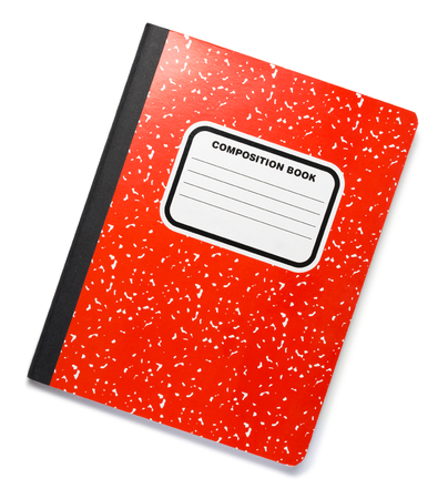 Red Composition Book on White