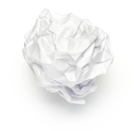 reciclaje de papel: Bola de papel arrugado en Blanco Foto de archivo