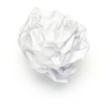 scrunch: Crumpled Ball of Paper on White