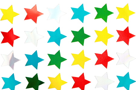 Shiny Star Stickers on White Фото со стока - 32834615