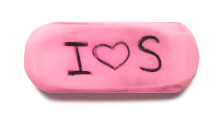 eraser: Pink Rubber Eraser on White Stock Photo