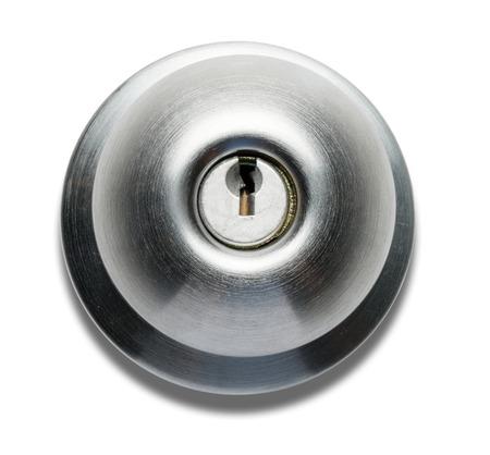 Doorknob with Key Lock on White Zdjęcie Seryjne