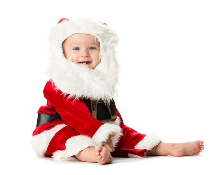Baby Girl in Santa Claus Costume Isolated on White Background Фото со стока - 33033623