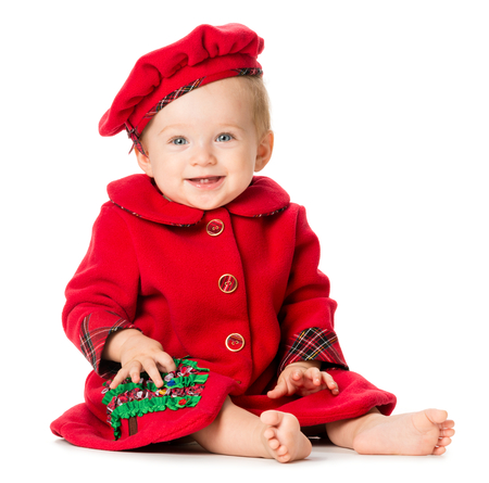 Baby Girl in Christmas Outfit Isolated on White Background