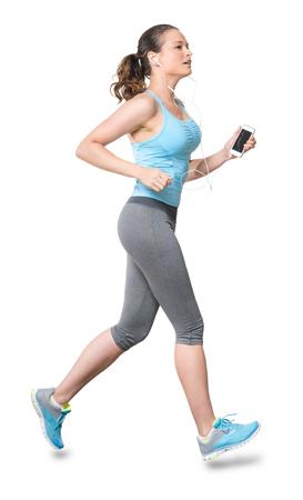 Vrouw loopt joggen met Phone oordopjes geïsoleerd op witte achtergrond