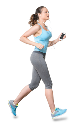 Woman Running Jogging with Phone Earbuds Isolated on White Background photo