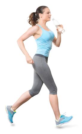 Woman Running Jogging mit Wasser-Flasche auf weißen Hintergrund Standard-Bild