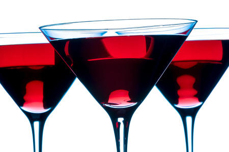 Red Cosmopolitan Martini Cocktails Isolated on a white background