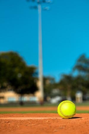 Softbal op waterkruikenhoop Stockfoto