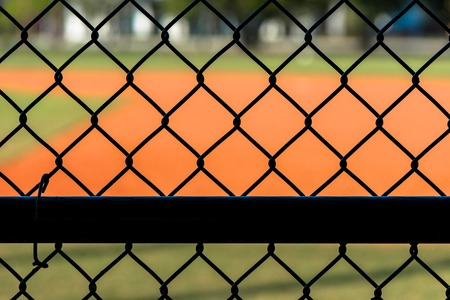 link up: Close Up Chain Link Fence at Baseball Field Stock Photo