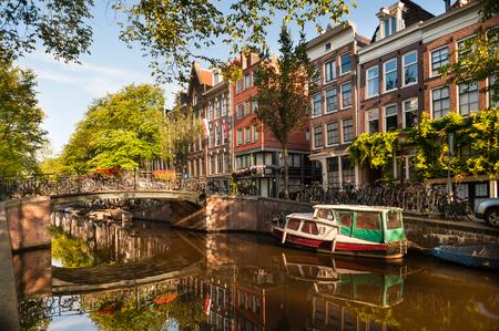 Morning on Amsterdam Canal Zdjęcie Seryjne