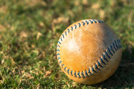 Well Worn Softball Baseball Close Up on Field