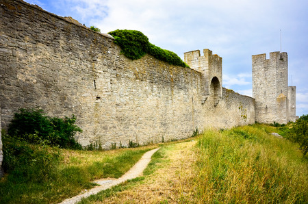 walled: Medieval Turretted city wall, Visby Sweden, Gotland