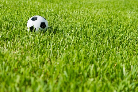 Black and white traditional soccer ball football futbol on grass bacground