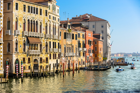 The grand canal in Venice, Italy. Focus on centuries old palazzo homes
