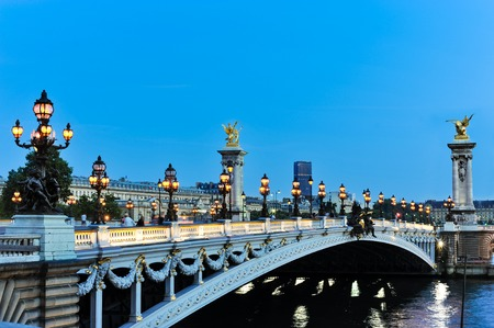 iii: The Pont Alexandre III Paris at twilight Stock Photo
