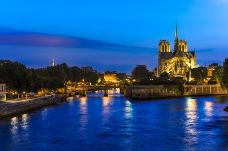 View across the Seine River Paris France with Notre Dame Cathedral at twilight